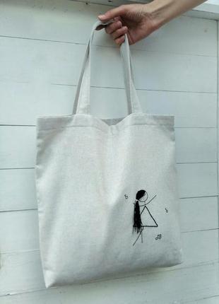 Эко-сумка / шоппер с вышивкой ручной работы