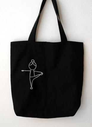 Эко-сумка / шоппер с вышивкой ручной работы человек
