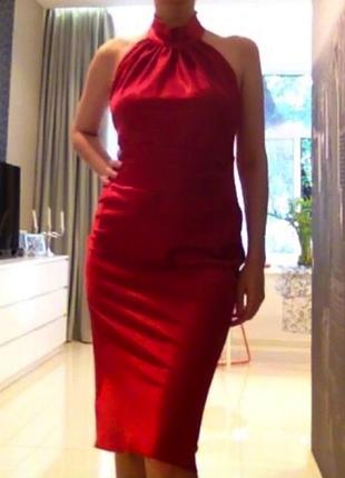 Красное платье вечернее под атлас миди ниже колена с открытой спиной американка м