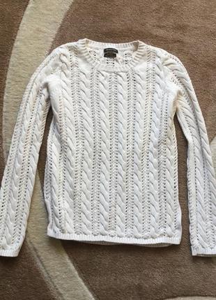 Белый свитер в косички massimo dutti