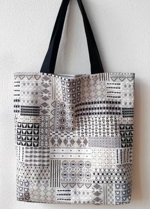 Эко-сумка / шоппер ручной работы «геометрия»