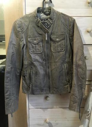 Классная кожаная куртка косуха хаки кожа 100% 8-10