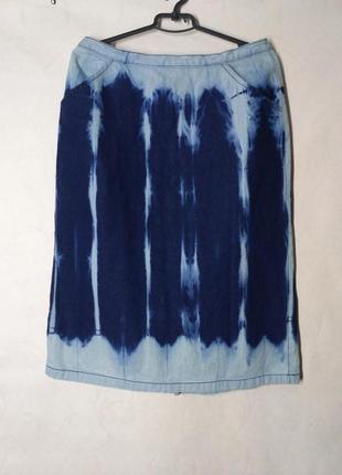 Юбка джинс джинсовая модный принт тай дай варенка вываренная tie dye