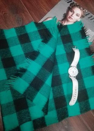 Отличный бирюзовый в клетку шарф