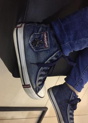 Конверс кеды высокие джинс