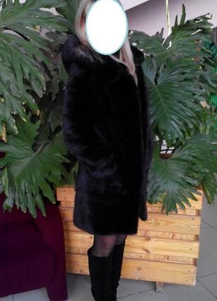 Норковая шуба махагон поперечка размер 42