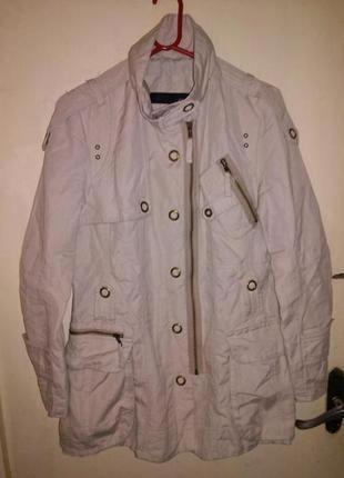 Натуральная-лён-коттон,классная куртка с подкладкой,погончиками и карманами,12-14рр.next