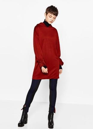 Стильное платье-худи туника с капюшоном оверсайз