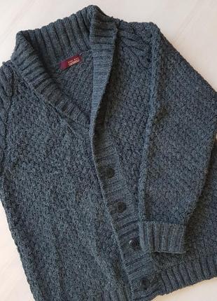 Мужской шерстяной свитер на пуговицах zara/шерстяная вязаная кофта