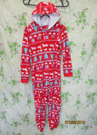 Теплый флисовый слип/пижама с новогодним принтом