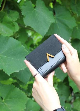 Кошелек кошелёк компактный вместительный стильный эко кожа замша черный качество