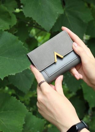 Кошелек кошелёк компактный вместительный стильный эко кожа замша серый качество