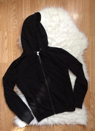 Черная хлопковая оверсайз толстовка,худи,свитшот,мастерка кенгуру теплая кофта с капюшоном