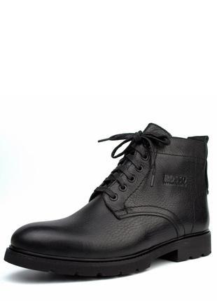 Шкіряні зимові класичні черевики на хутрі rosso avangard falconi clasic black leather