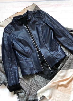 Кожаная куртка натуральная кожа темно-синий черный