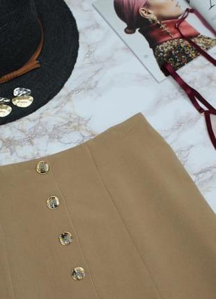 Юбка мини трапеция камел беж с пуговицами декор качество3 фото