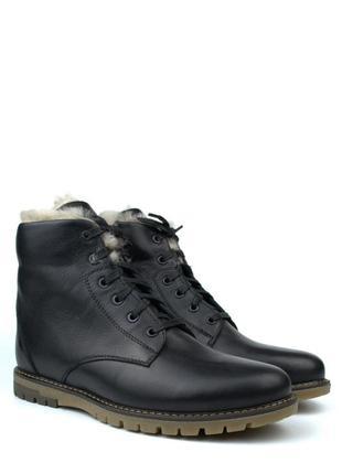 Зимові чоловічі черевики на натуральній овчині цигейка шкіра rosso avangard whisper