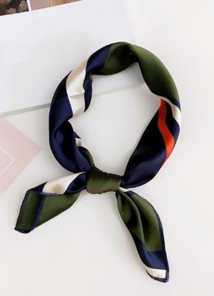 Платок платочек бант лента для волос на сумку топ-качество зеленый синий в полоску