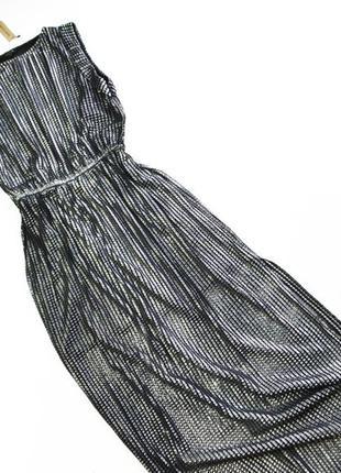 Стильное длинное переливающее серебряное платье