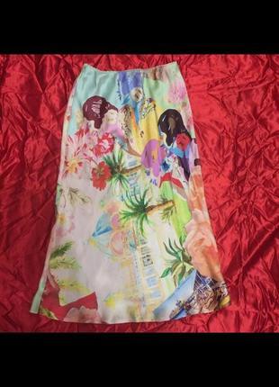 Шелковая юбка с высокой талией