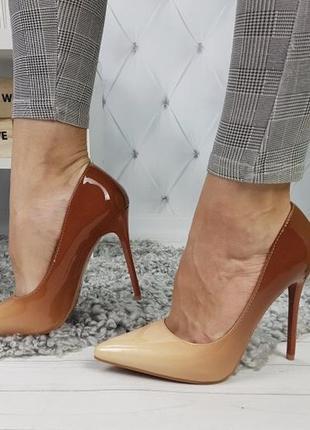 Новые женские бежевые туфли лодочки омбре2 фото