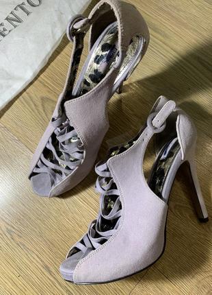 Лиловые открытые туфли на высоком каблуке next