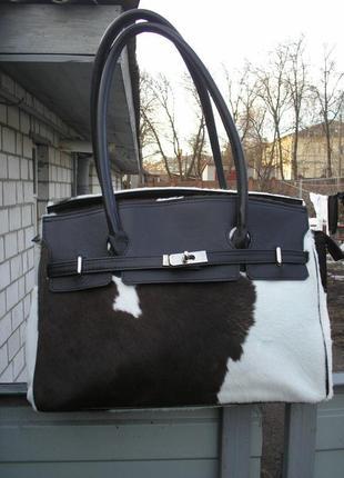 Итальянская эксклюзивная кожаная сумка, кожа и мех пони италия