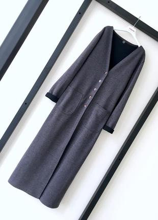 Итальянское трикотажное пальто на пуговицах кардиган2 фото