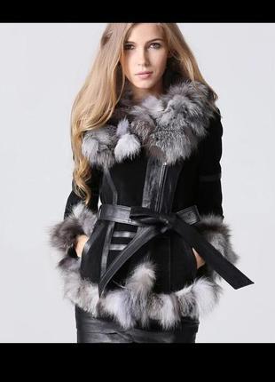 Замшевая куртка/ дубленка с лисьим  воротником