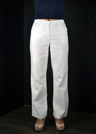 Белые льняные летние брюки bonprix