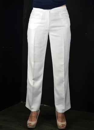 Белые летние льняные брюки devernois