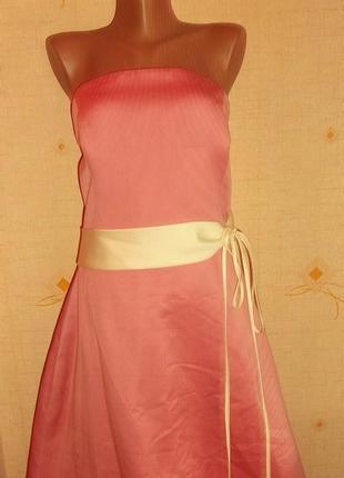 Вечернее платье розовое пояс белый поспинке пуговички  р. l - forever yours