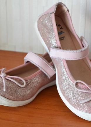 Нарядные кожаные туфли, балетки pablosky