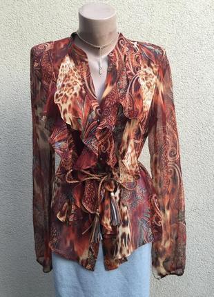 Шелк100%,прозрачная блуза,рубаха,жабо,рюши-воланы,этно,бохо стил