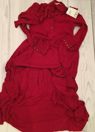 Алое платье с пуговицами сердцами zara