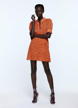 Алое платье с кристальными пуговицами zara новая коллекция