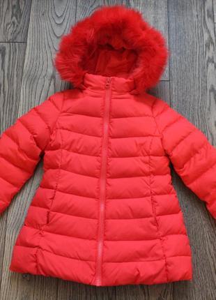 Пуховое пальто-куртка для девочки вenetton, р.4-5 лет,рост 110 см