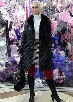 Французское комфортное демисезонное стеганное пальто из болонья  - м