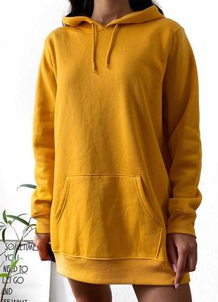 Худи объемный кенгуру свитшот платье горчичный