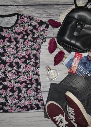 10/s-м фирменная стильная женская футболка с цветочным принтом atmosphere