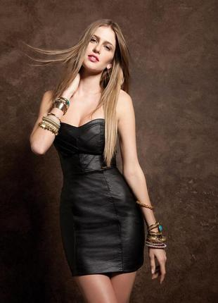 Брендовое черное кожаное мини платье e-vie