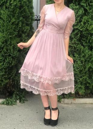 Нежное платье нарядное платье на свадьбу  пудровое розовое платье