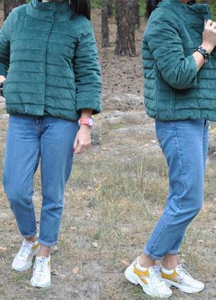 Изумрудная вельветовая куртка пуховик