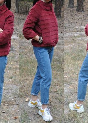 Бордовая вельветовая куртка пуховик