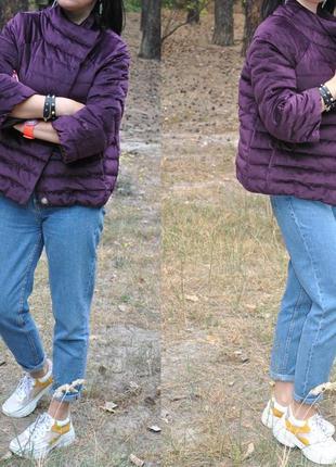 Фиолетовая бархатная демисезонная куртка пуховик