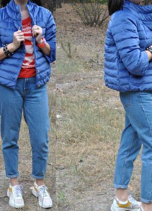 Бархатная куртка пуховик небесного цвета