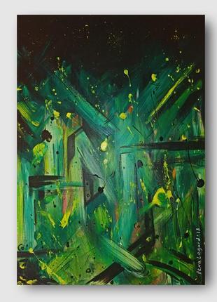 Картина абстракция green starfall 50х70
