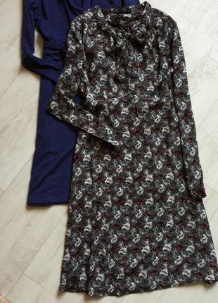 Платье миди с завязкой на шее в принт лонгслив marks&spencer