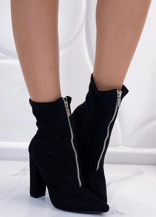 Новые женские осенние черные ботинки ботильоны