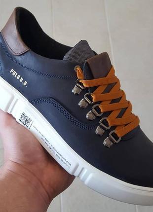 Мужские кожаные кроссовки polo trend